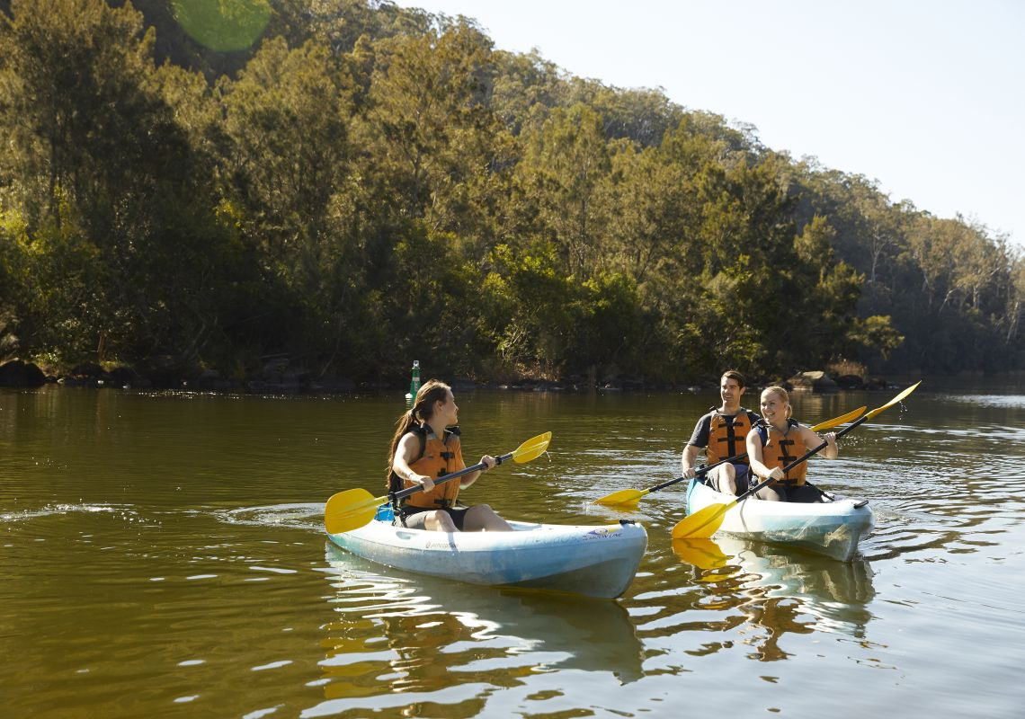 Friends enjoying a day of kayaking on the Nepean River in Penrith, Sydney West