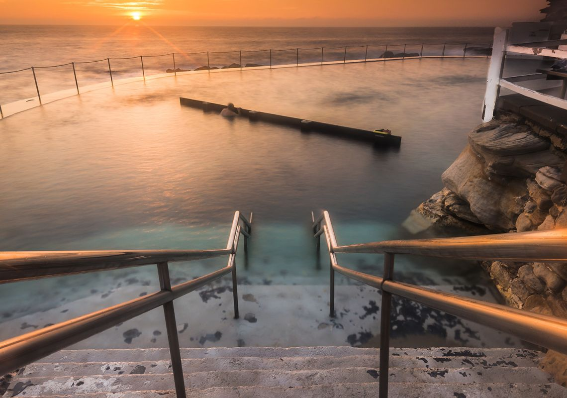 Sunrise over Bronte Baths in Bronte, Sydney East