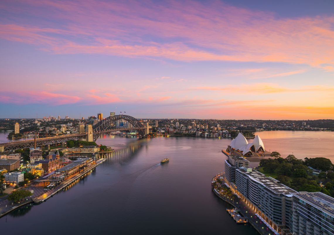 Sun rising over Sydney Harbour and Circular Quay, Sydney
