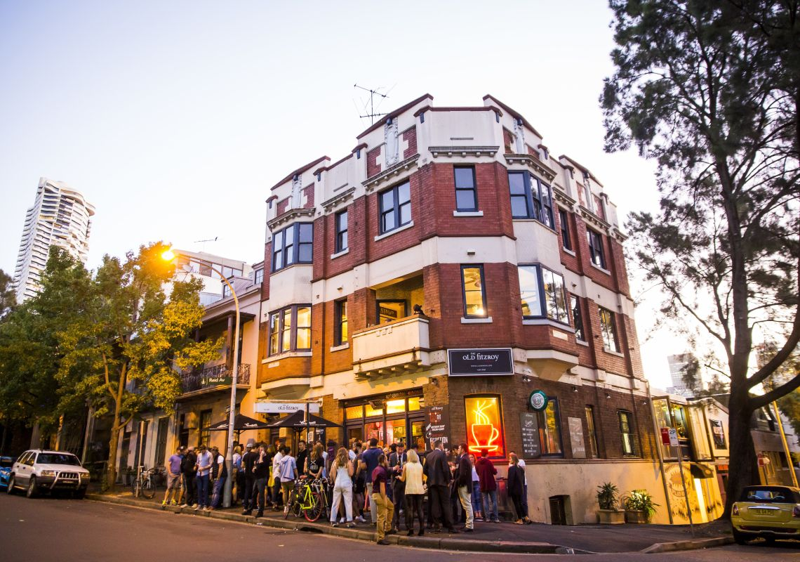 People crowding outside the popular Old Fitzroy Hotel in Woolloomooloo