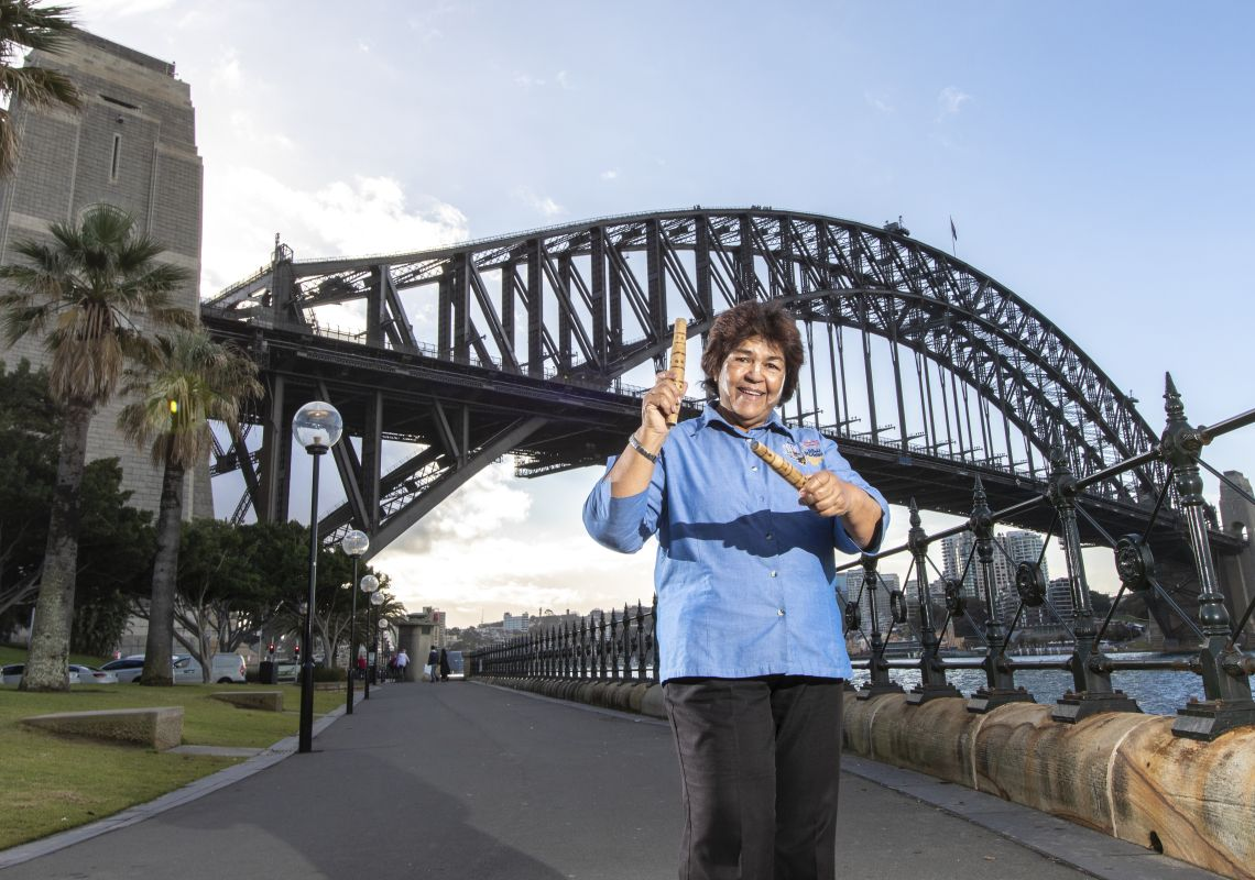 Aboriginal tour guide Margret Campbell of Dreamtime Southern X in The Rocks, Sydney.