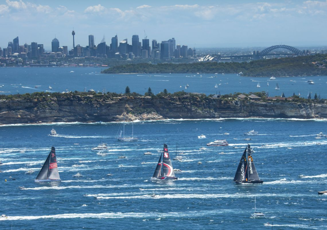 Aerial overlooking the start of the 2018 Sydney to Hobart Yacht Race in Sydney Harbour, Sydney City