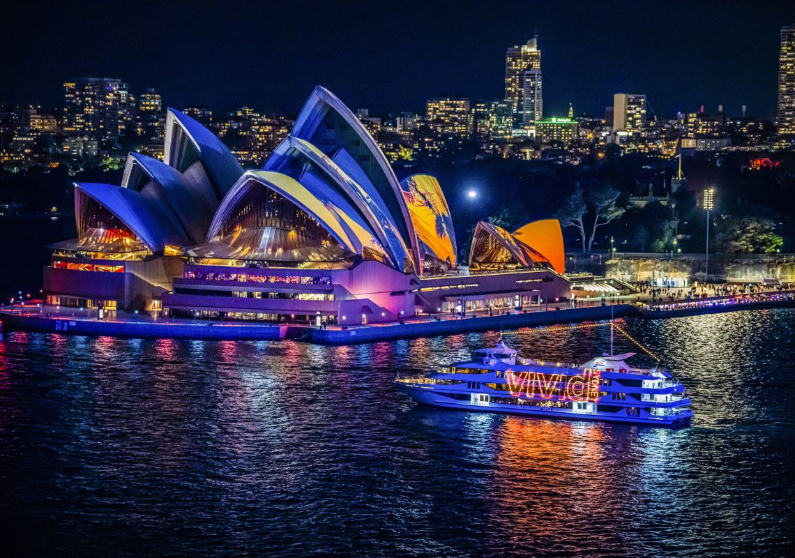 Vivid Cruise passing the Sydney Opera House during Vivid Sydney 2019