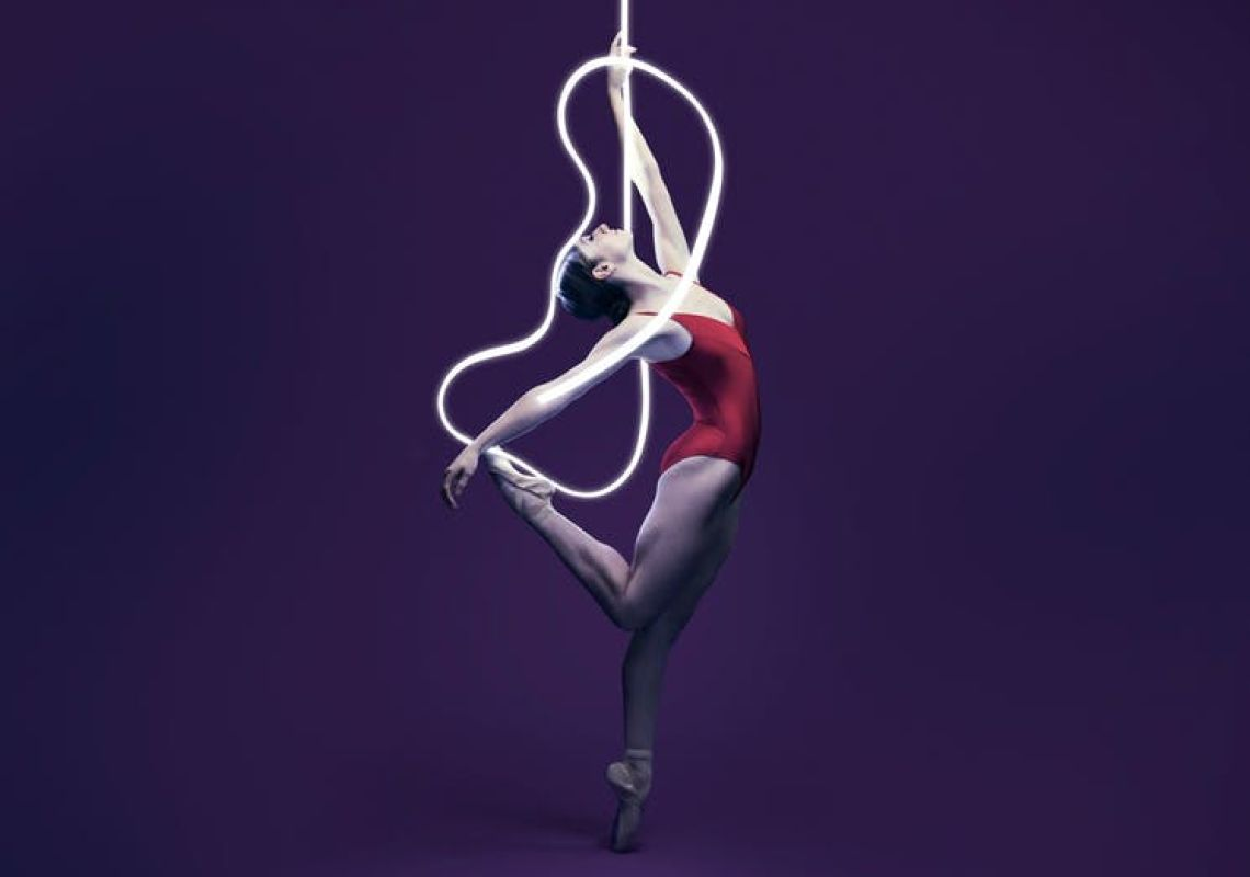A woman stands in a balletic position, The Australian Ballet presents Volt