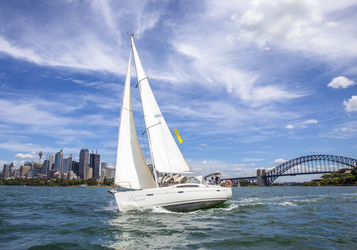 People enjoying a chartered sailing tour on Sydney Harbour