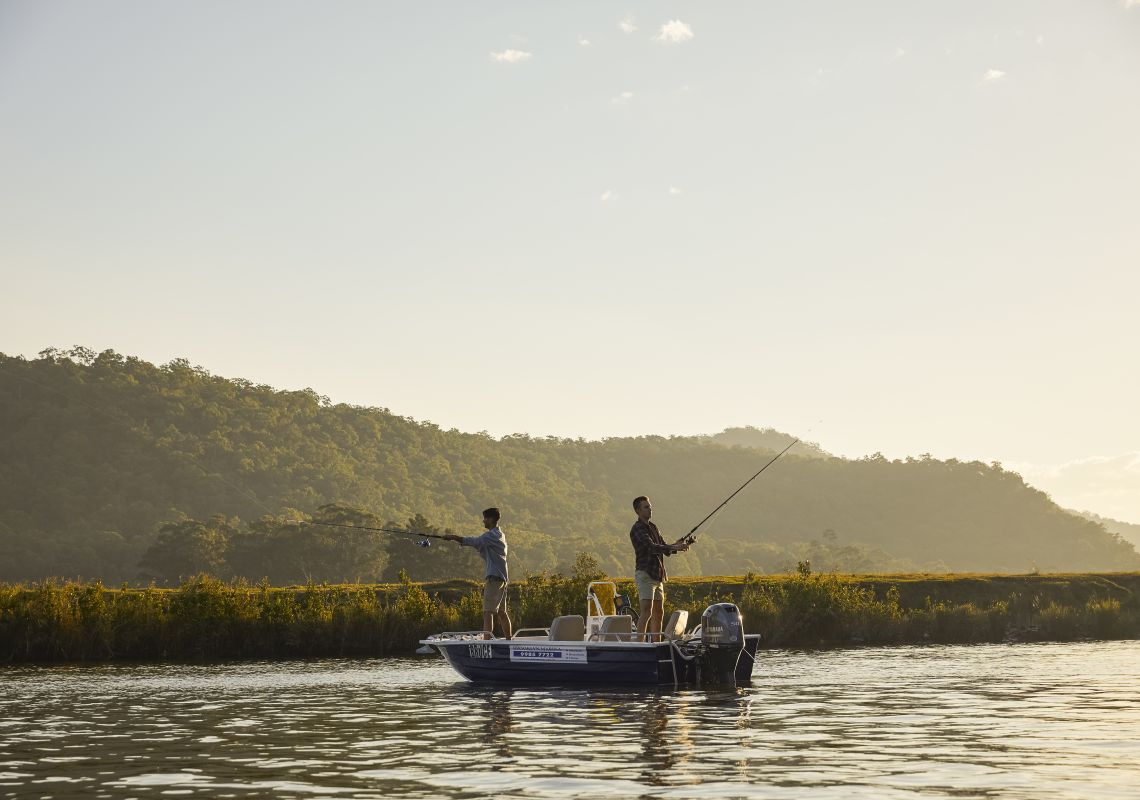 Friends enjoying an afternoon of fishing on the Hawkesbury River, Wisemans Ferry.