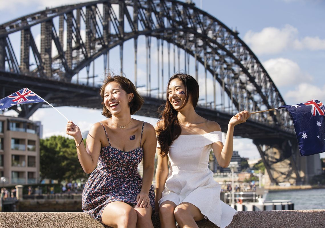 Women celebrating Australia Day 2016 by Sydney Harbour
