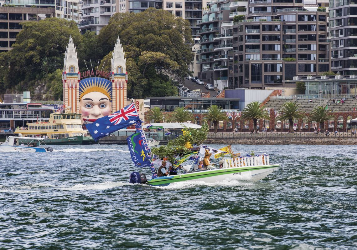 People celebrating Australia Day 2016 on Sydney Harbour