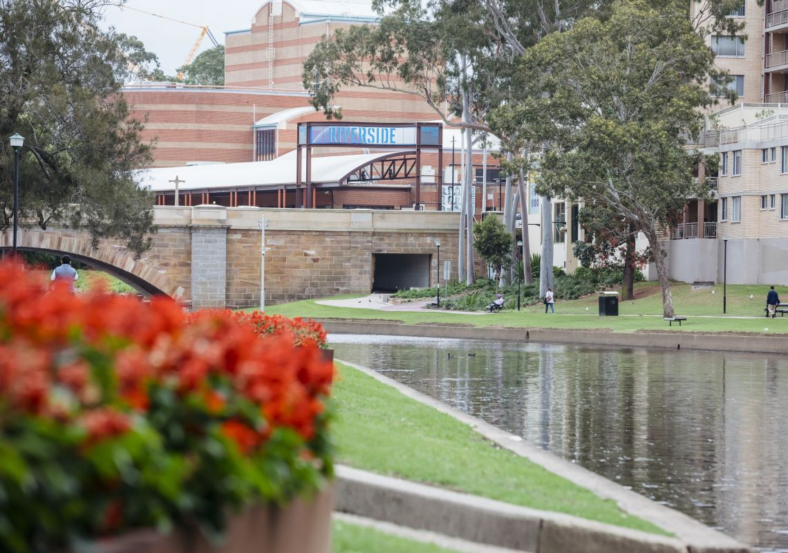 Parramatta River with views across to the Riverside Theatre in Parramatta, Sydney West
