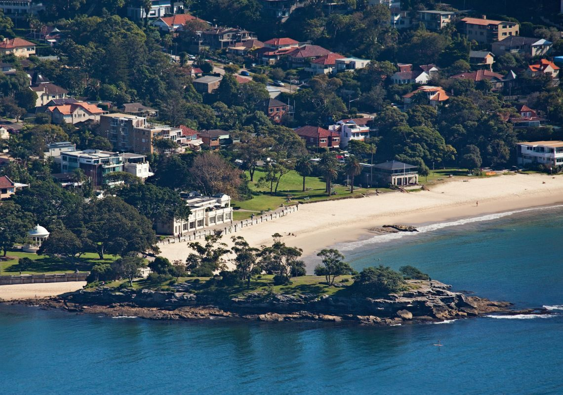 Aerial of Balmoral Beach at Mosman, Sydney North