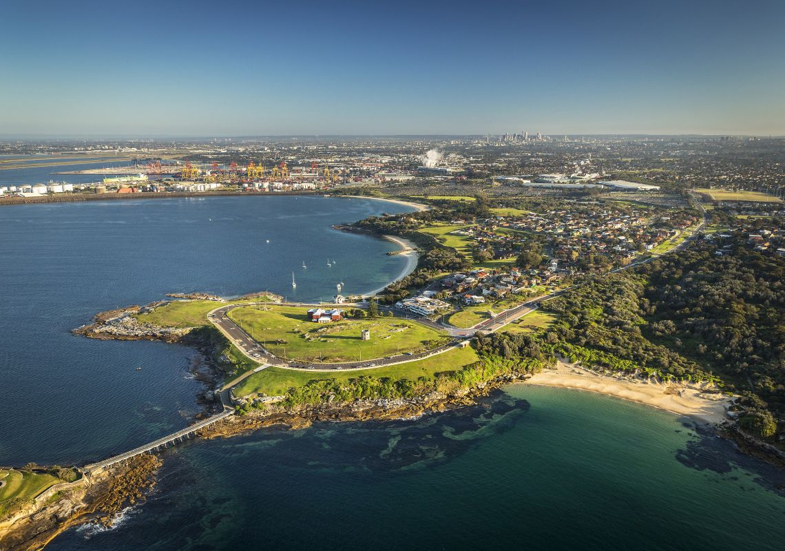 Aerial view of Bare Island in Botany Bay, Sydney South