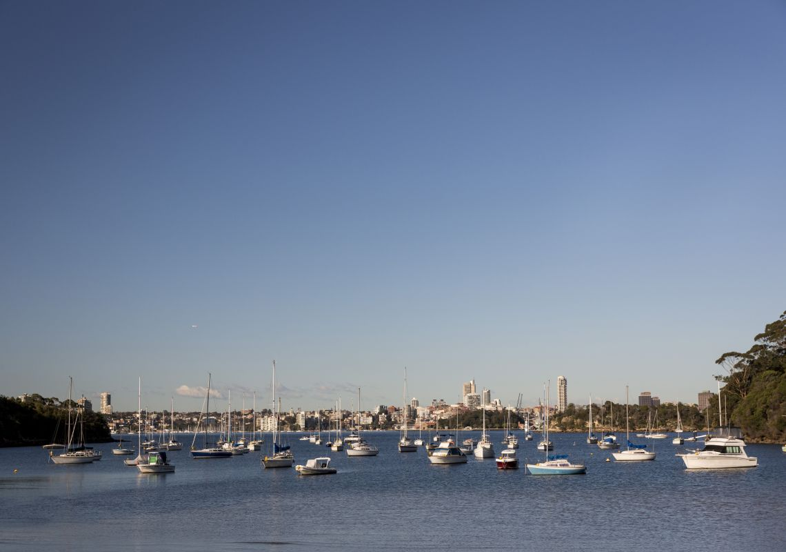 Boats docked at Sirius Cove, Mosman