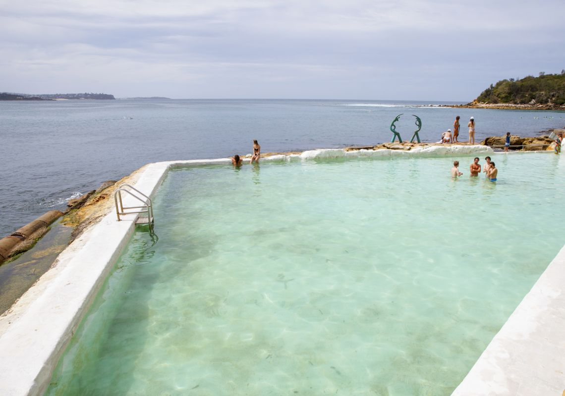 People enjoying a swim in the Fairy Bower Ocean Pool, Manly
