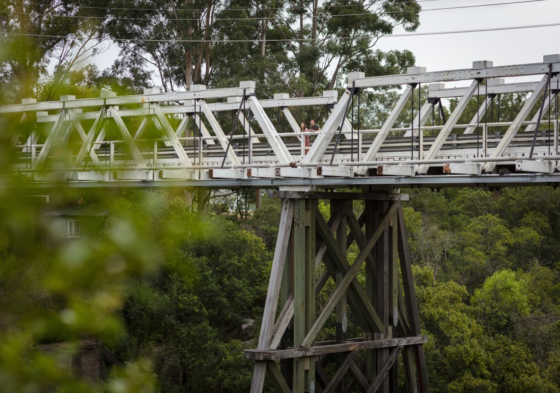 Couple enjoying a visit to the Picton Railway Viaduct in Picton, Sydney west