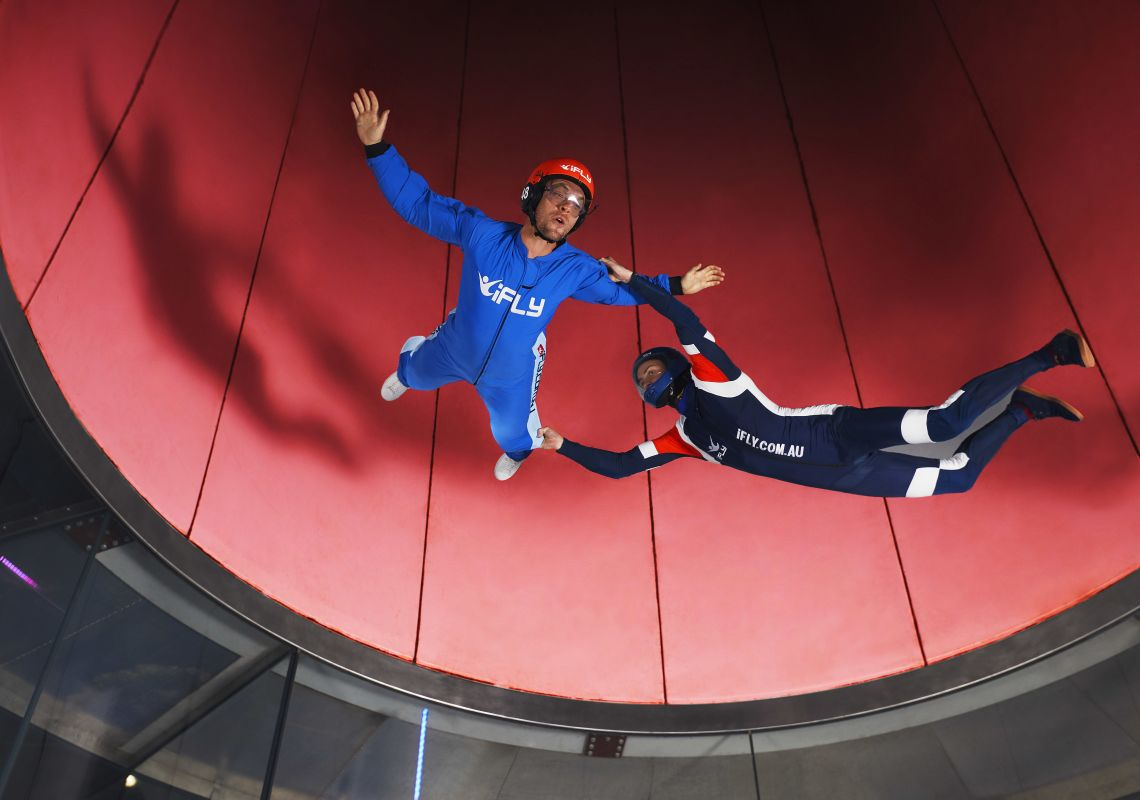 Man enjoying an indoor skydiving experience with iFLY Downunder, Penrith