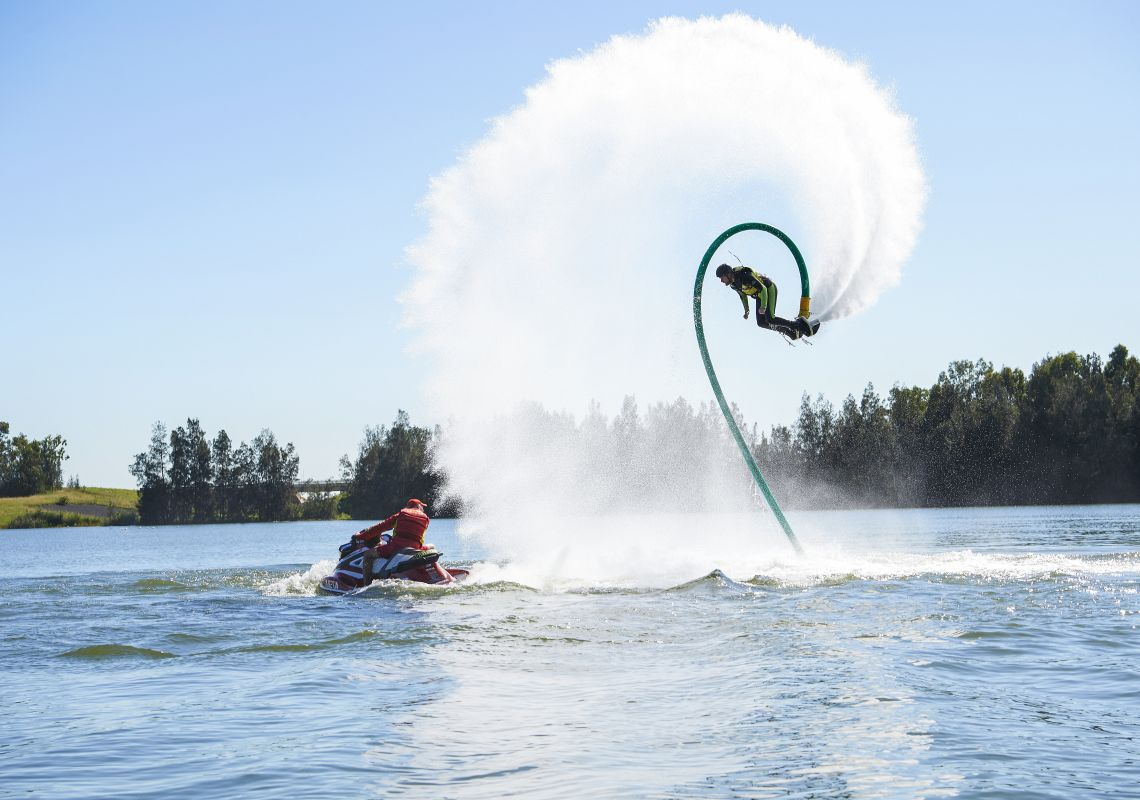 Man enjoying an action-packed experience at Jetpack Adventures in Sydney International Regatta Centre, Penrith