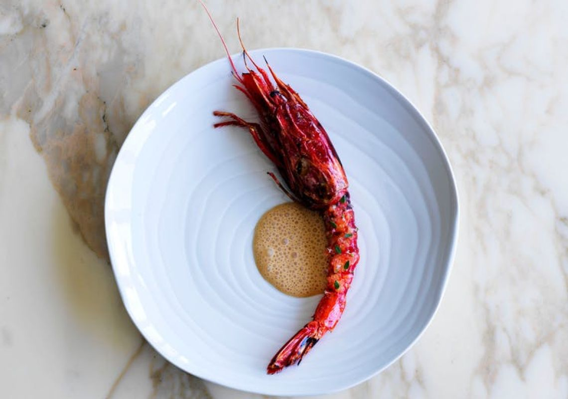The red scarlet prawn with finger lime in Ormeggio at The Spit in Mosman, Sydney North