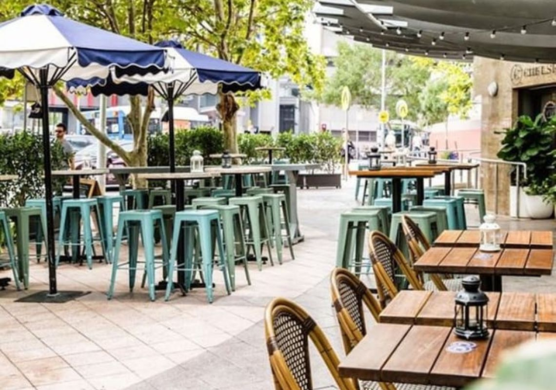 Outside eating and bar area at Chelsea Hotel Chatswood in Chatswood, North Sydney