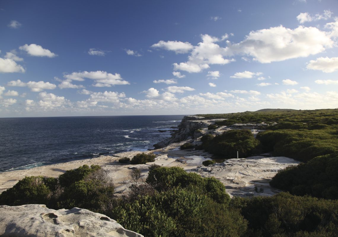 Spectacular coastal view of prime whale watching location at Cape Solander Kurnell Kamay Botany Bay National Park