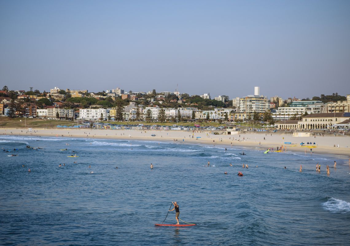 Beachgoers enjoying a Summer's day at Bond Beach in Bondi, Sydney East