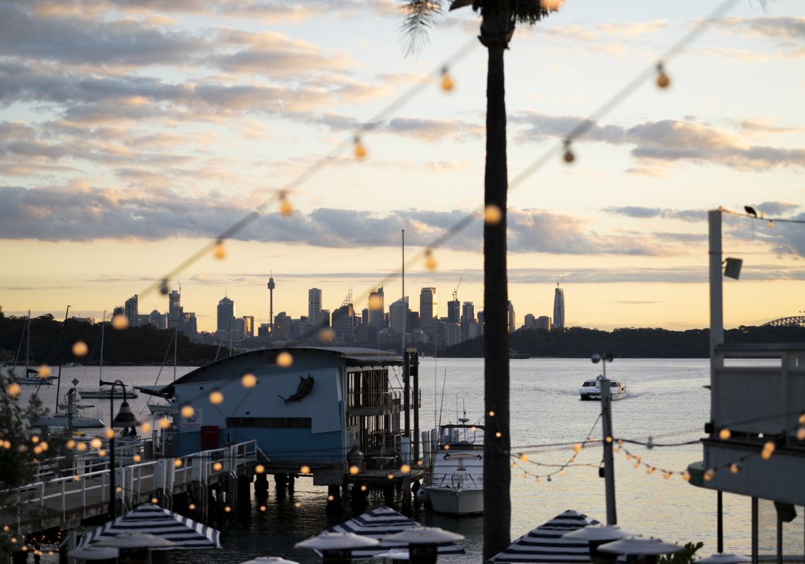 Scenic views across Sydney Harbour to the Sydney CBD from Watsons Bay Boutique Hotel, Watsons Bay.