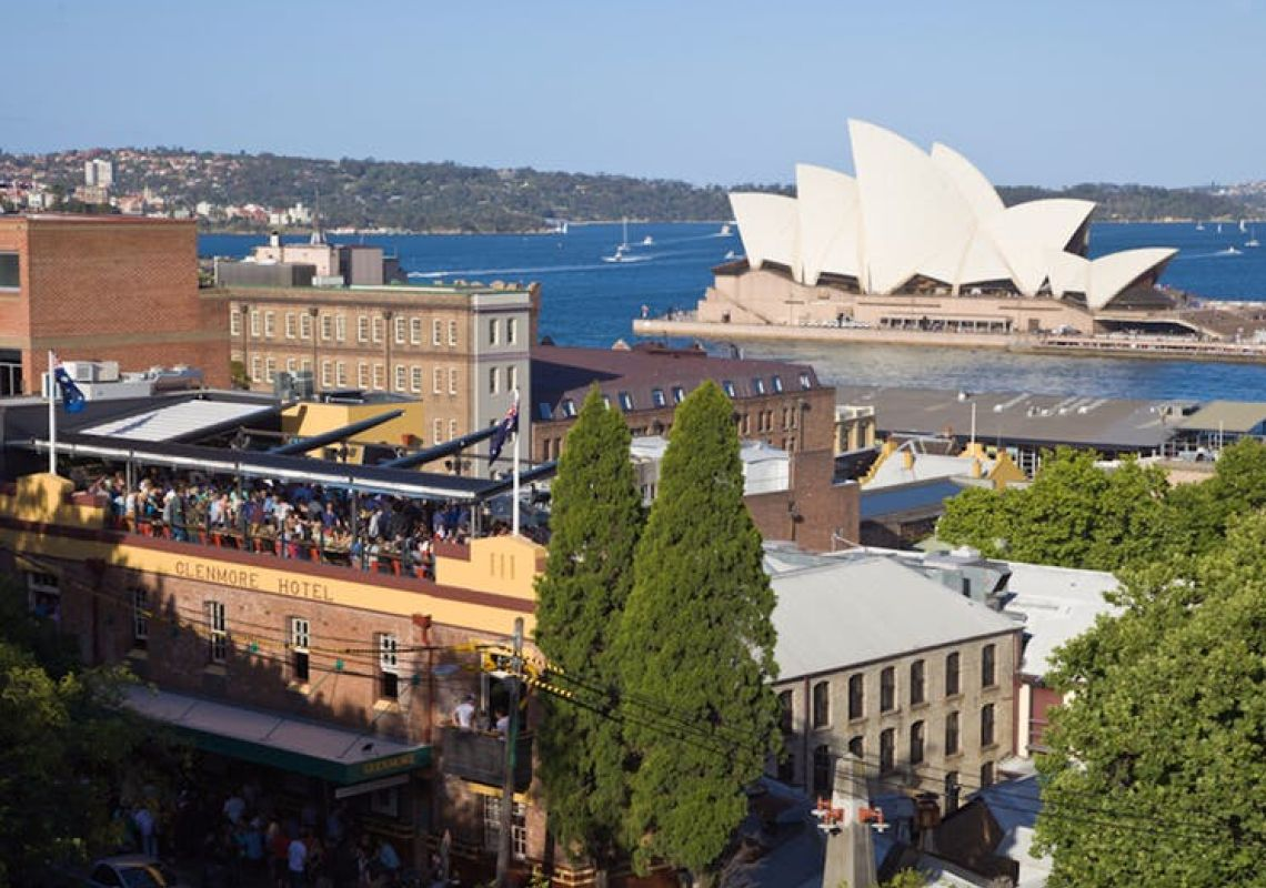 Rooftop bar at The Glenmore Hotel in The Rocks, Sydney City