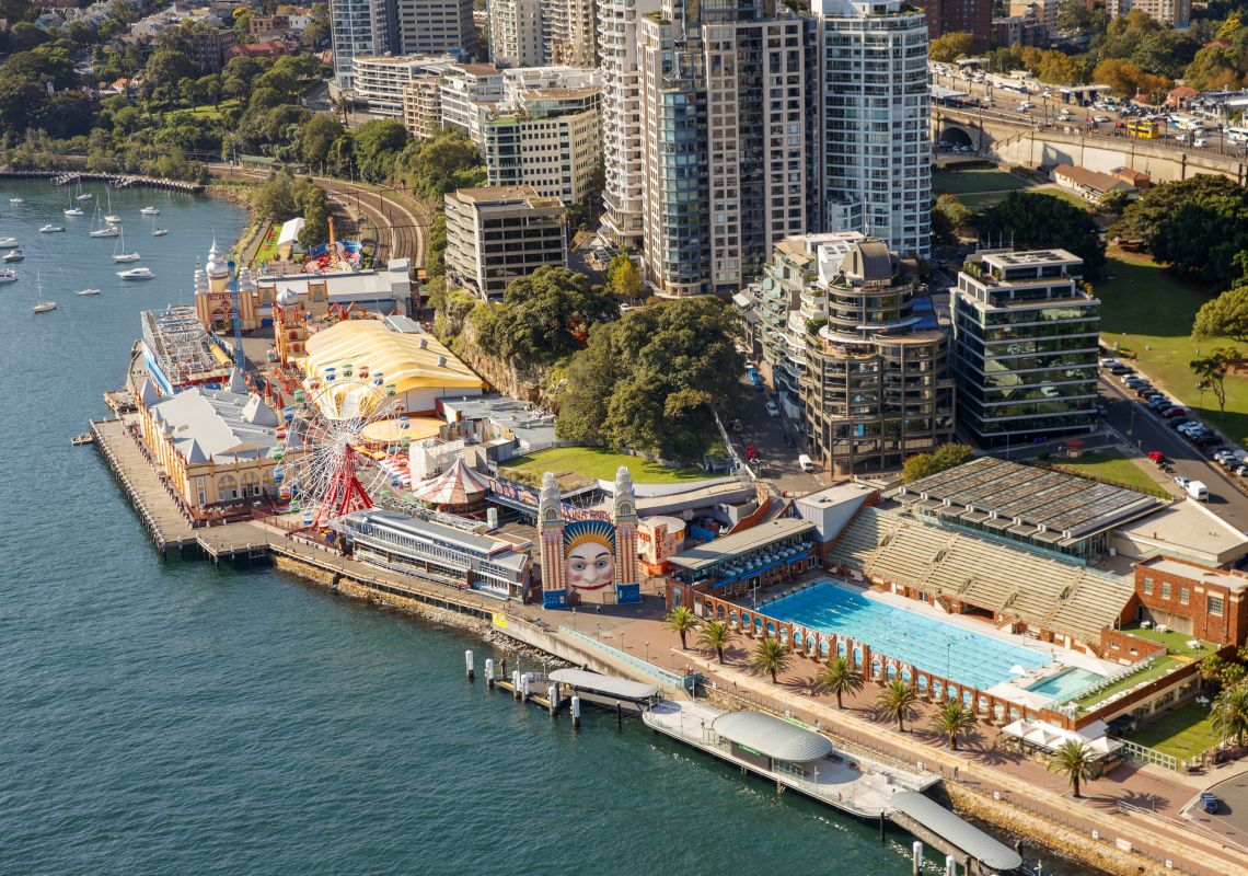 Luna Park and North Sydney Olympic Pool as seen from the Sydney Harbour Bridge.