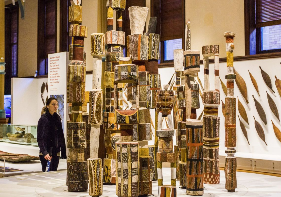 Tiwi Poles on display at the Indigenous Australians exhibition in Australian Museum, Sydney