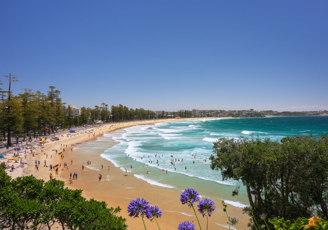 Crowds enjoying a Summer's day at Manly Beach in Manly, Sydney North