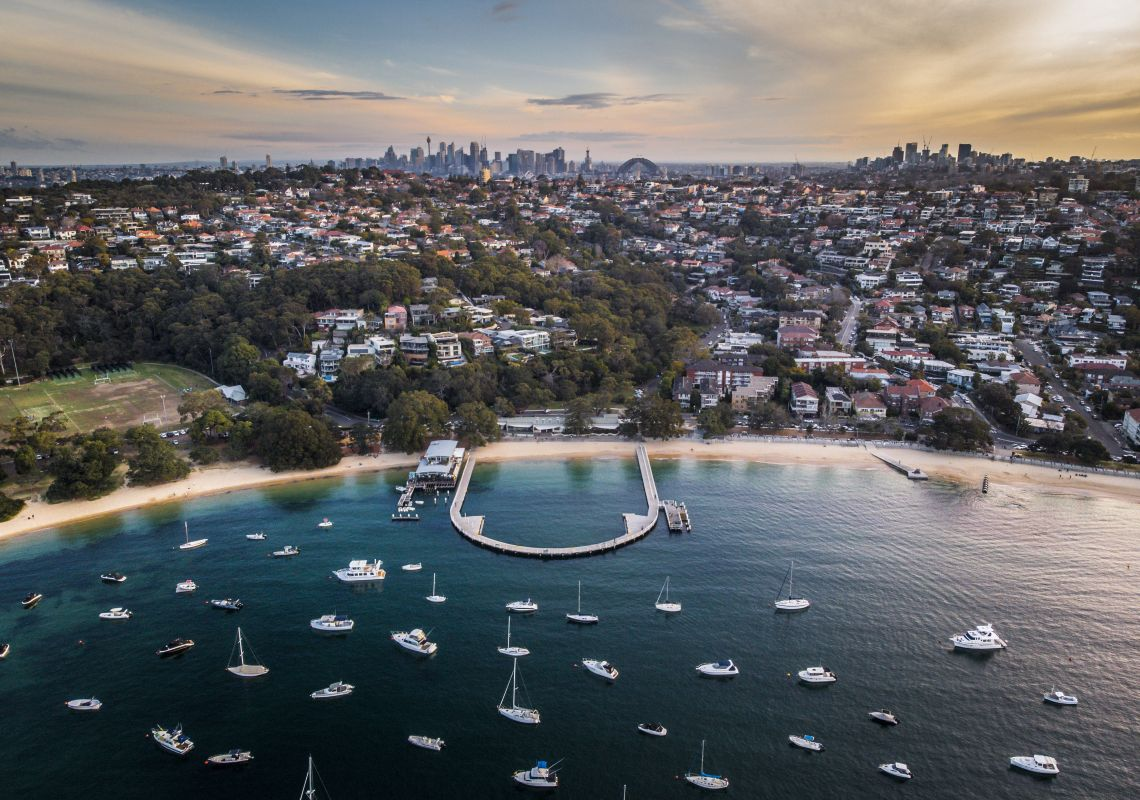Aerial overlooking Balmoral Baths at Balmoral, Sydney North