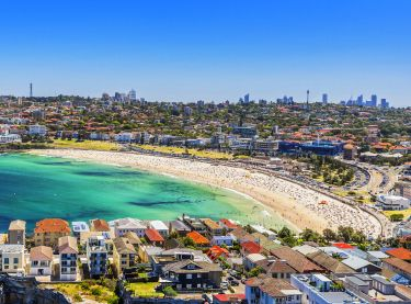 Aerial shot over Bondi - Sydney East