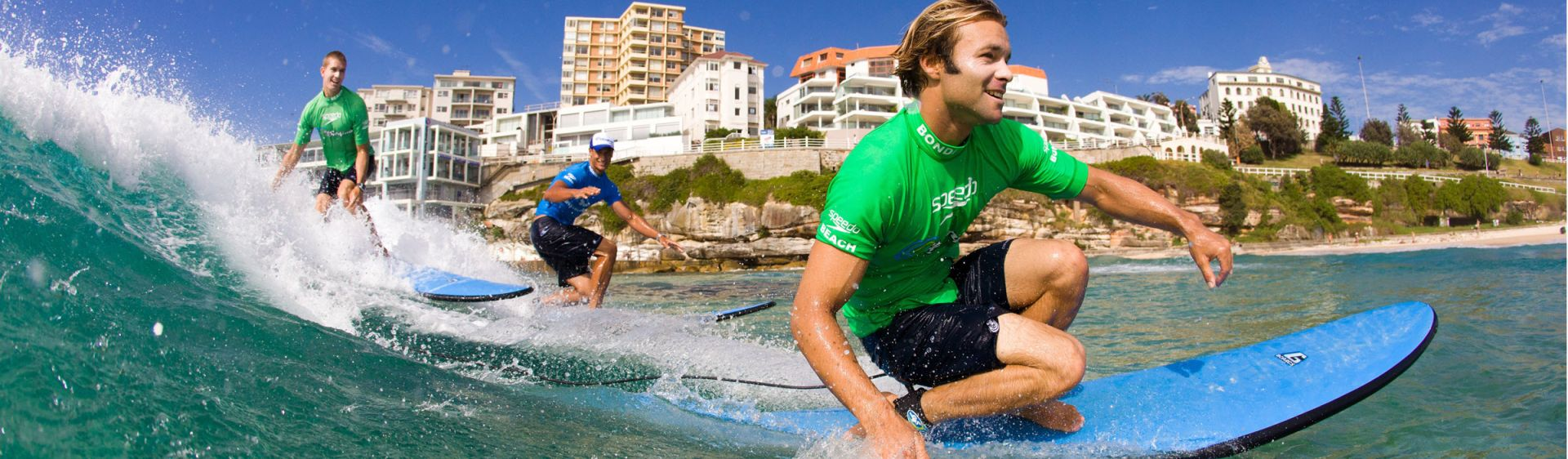 A surfing lessons at Bondi Beach with Let's Go Surfing