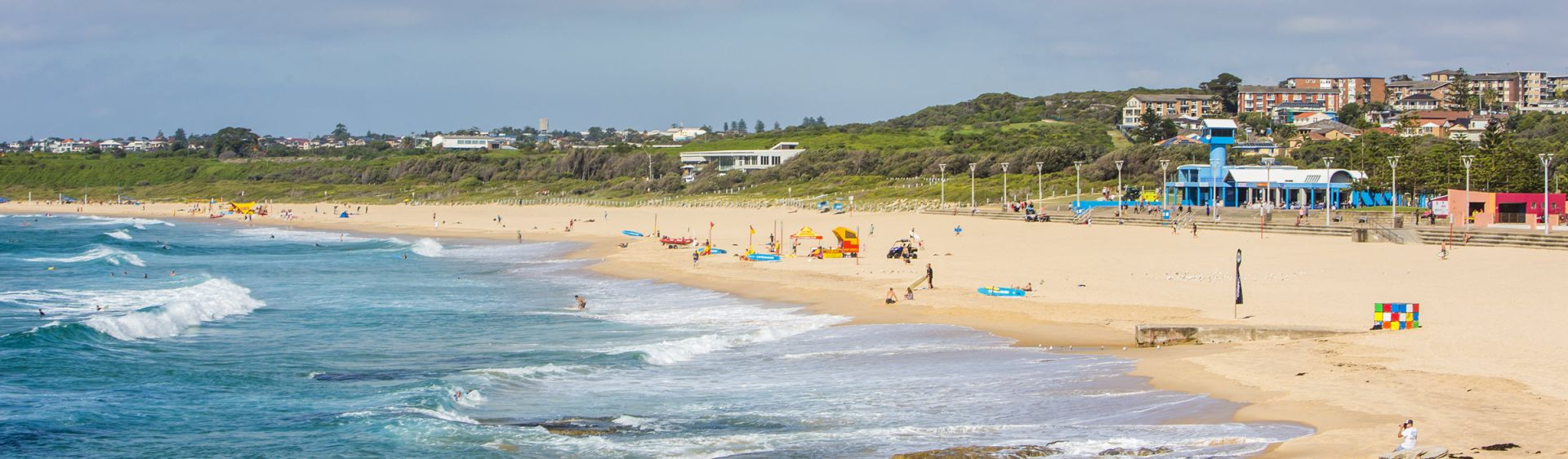 People entering the surf at Maroubra Beach, Maroubra