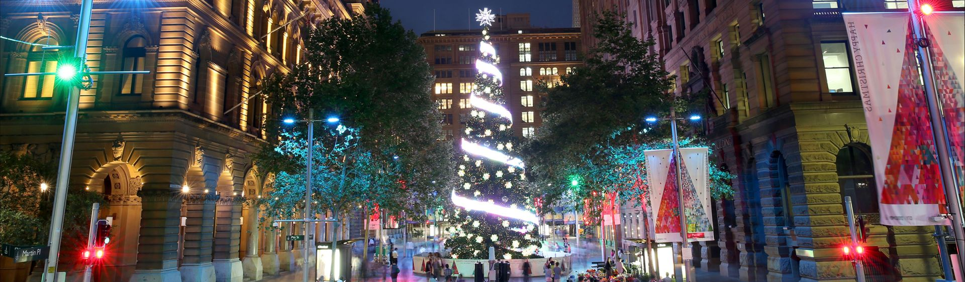 The Christmas tree twinkling at night in Martin Place, Sydney