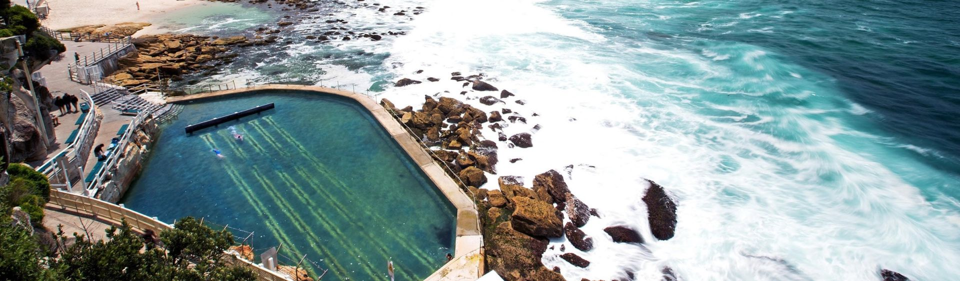 Views of Bronte beach and ocean pool in Sydney