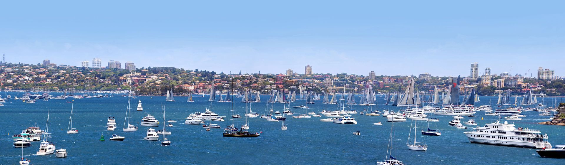 Yachts sailing in the Sydney to Hobart yacht race on Sydney Harbour panorama