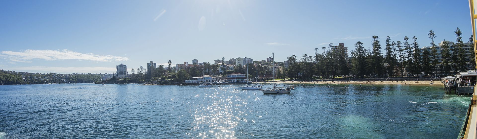 Ferry pulling into Manly Cove.
