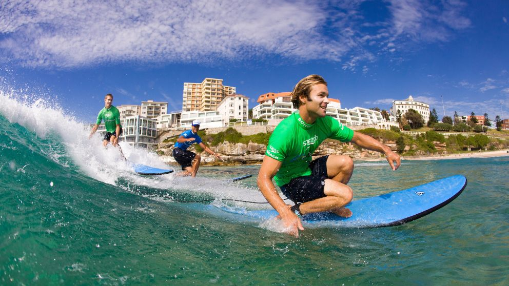Surfing lessons at Bondi Beach with 'Let's Go Surfing