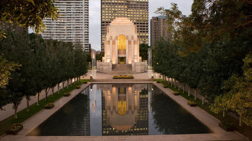 Pool of Reflection and ANZAC Memorial in Hyde Park, Sydney