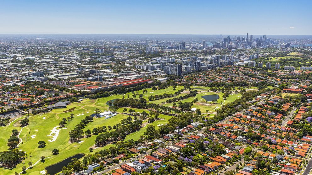 Aerial view of The Australian Golf Club looking out towards the CBD