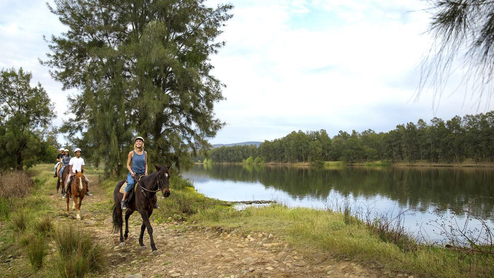 Group enjoying a horseriding experience along the Hawkesbury River with Hawkesbury Valley Equestrian Centre