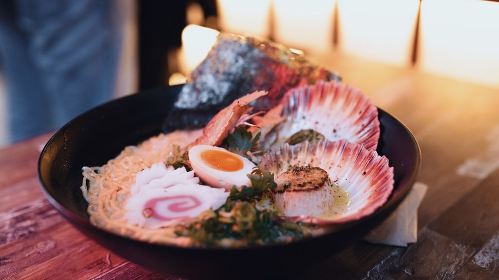 Seafood ramen available from a Spice Alley hawker in Chippendale, Sydney