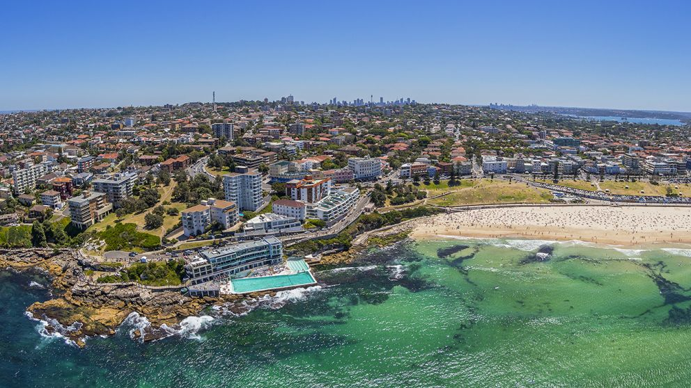Aerial of Bondi beach and Bondi Icebergs pool, Sydney