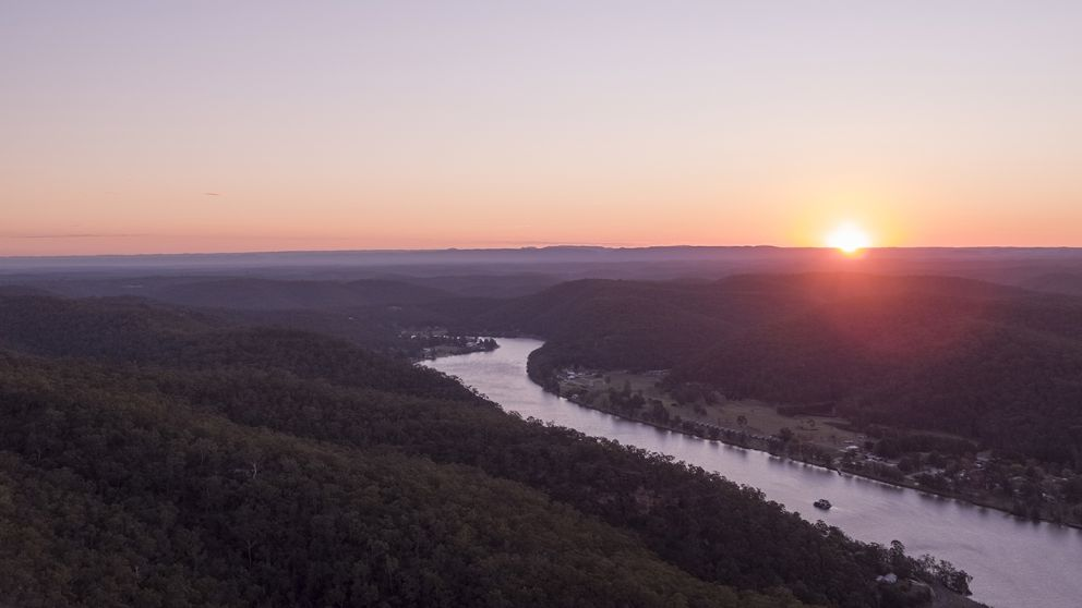 Scenic sunset views overlooking the Hawkesbury River from Hawkins Lookout, Wisemans Ferry