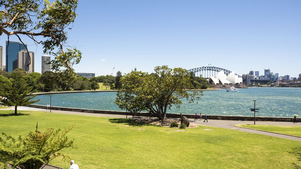 Scenic views of the Sydney Harbour Bridge and Sydney Opera House from the Royal Botanic Garden Sydney, Sydney city
