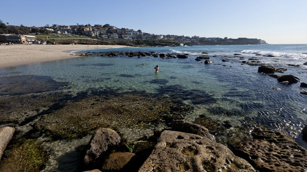 People enjoying a swim at Bronte Beach, Sydney East