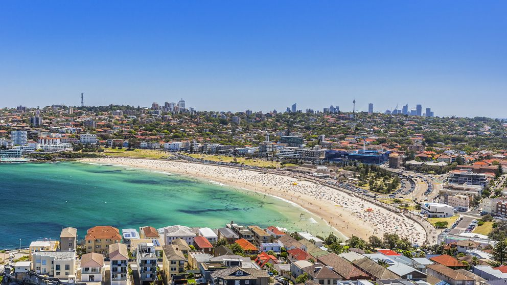 Aerial shot of Bondi Beach in Bondi , Sydney East