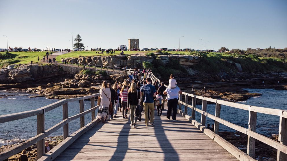Crowds visiting Blak Markets at Bare Island in La Perouse, Sydney East