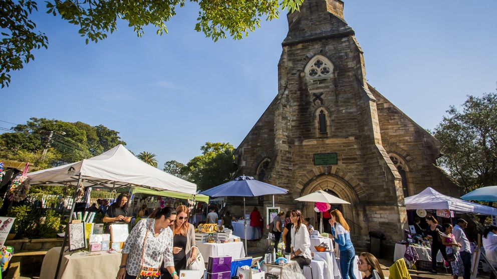 Market stalls at Balmain Markets, Sydney's third-oldest markets in Balmain