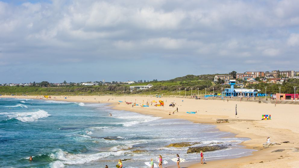 People entering the surf at Maroubra Beach in Maroubra, Sydney East